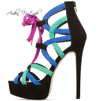 Arden Furtado summer 2019 fashion women's shoes stilettos heels narrow band concise zipper sandals sexy elegant big size 45 new