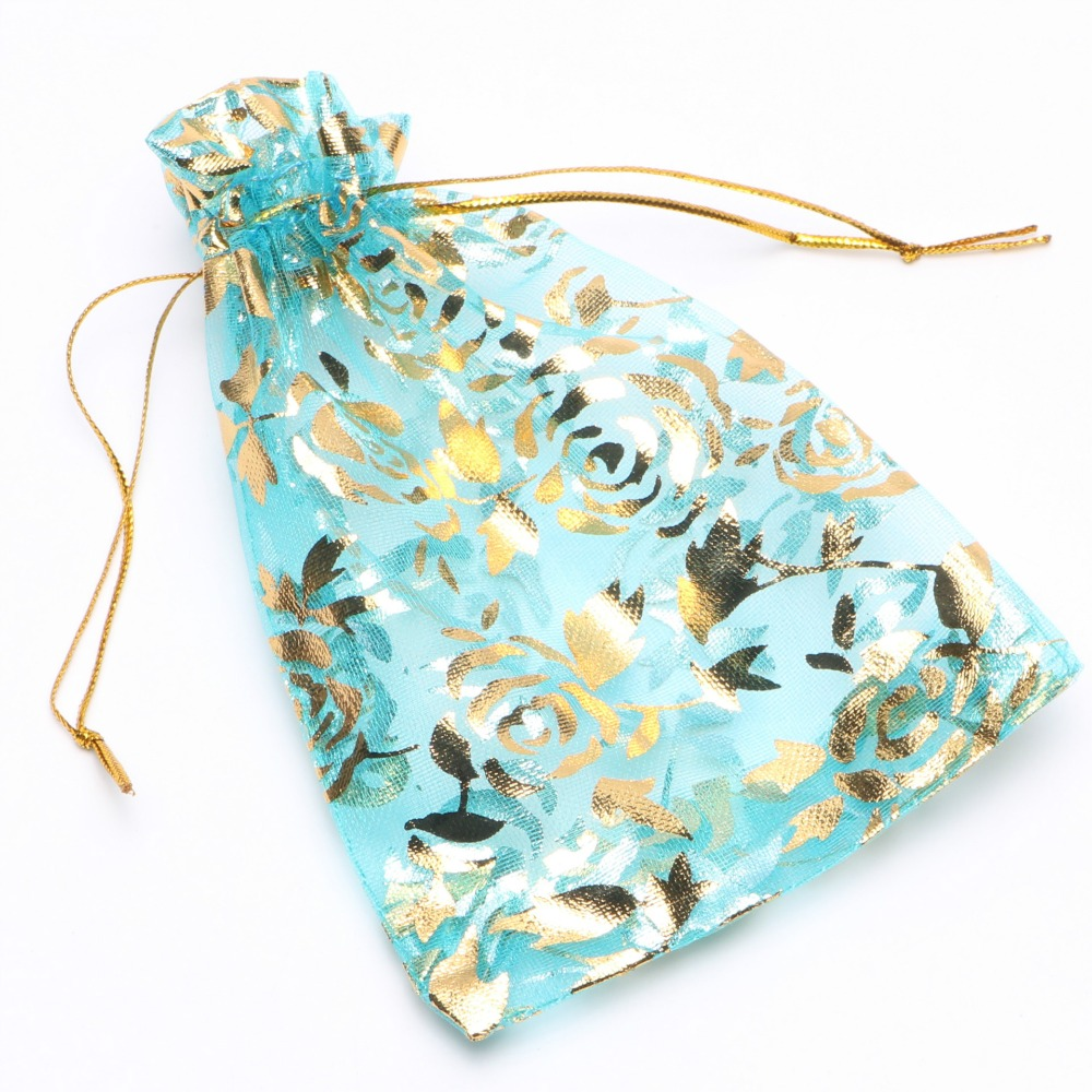 25pcs Colorful Gold Rose Transparent Packs Drawstring Pouch Sachet Organza Gift Bag For Jewelry Wedding Party Beads Packing