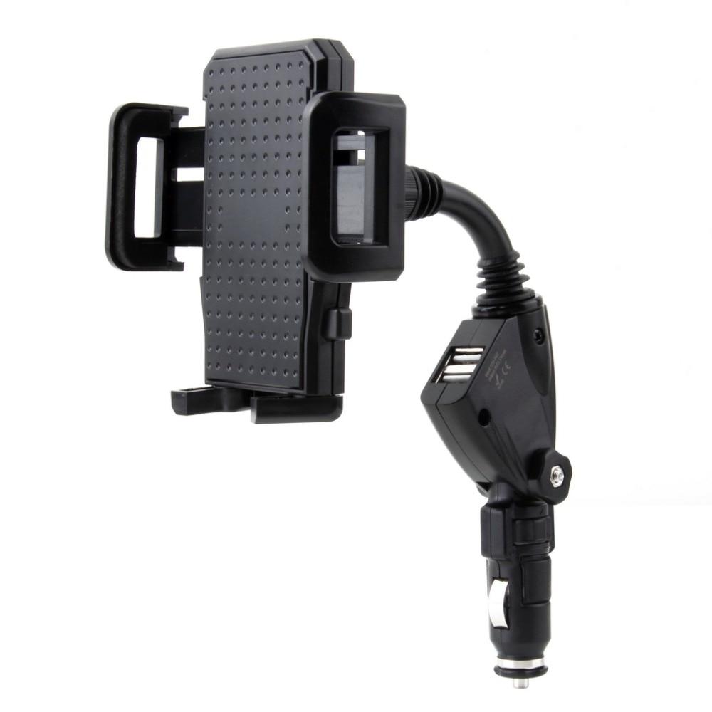 Universal Adjustable 2.1mAh Rotation Dual 2 USB Port Car Lighter Charger Stand Mount Holder Bracket For iPhone 5S 5C For Samsung