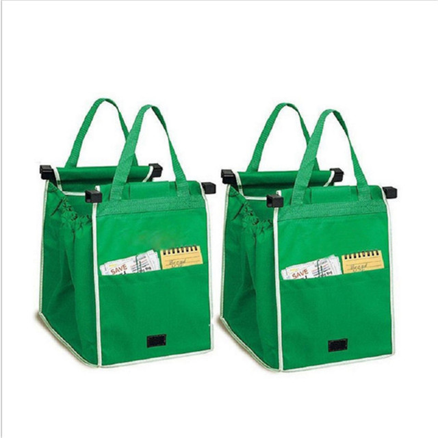 Grren 1pcs Large Trolley Reusable Clip To Cart Grocery Ping Bags Storage Portable Cloth