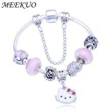 ef7196a67 Meekuo Cute Children Cat Hello Kitty Bracelet for Women Kids Girls Pink  Enamel Crystal Beads Charm bracelets & bangles Jewelry