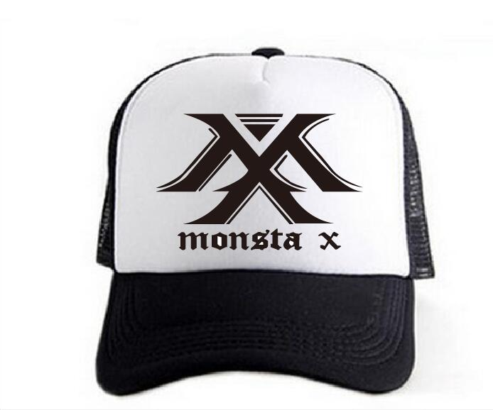 2020 new kpop hat summer Breathable colors and leisure and white mixed MONSTA X hat baseball cap Black cap Mountaineering