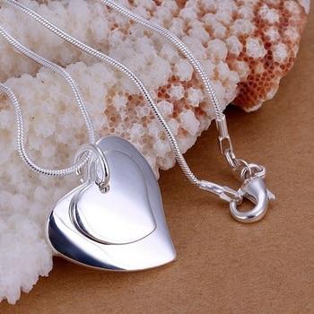 Joyería 925 Chapado en plata joyería colgante de moda fina Linda doble corazón etiqueta collar colgantes de calidad superior CP140
