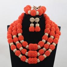 Luxury Orange African Coral Jewelry Beads Set  Nigerian Wedding Bridal Statement Party Jewelry Set Women Lady Gift QW796