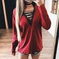 2017 Nueva Llegada de la Camiseta Acanalado Criss Cross Tie Up Atractiva de Las Mujeres Camiseta Del Verano Del Estilo de Manga Larga Tops Ahueca Hacia Fuera Para Mujer Top