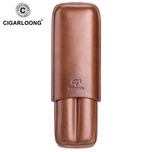 New COHIBA Gadgets Brown Leather Cigar Case Holder Humidor 2 Tube Count Portable Travel with Gift Box CLH-0111