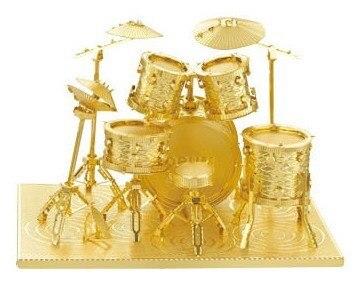 Drum kit модель Золотые и серебряные цвета 3D DIY лазерный резки музыкальный инструмент модели развивающие игрушки diy Головоломки лучшие подарки
