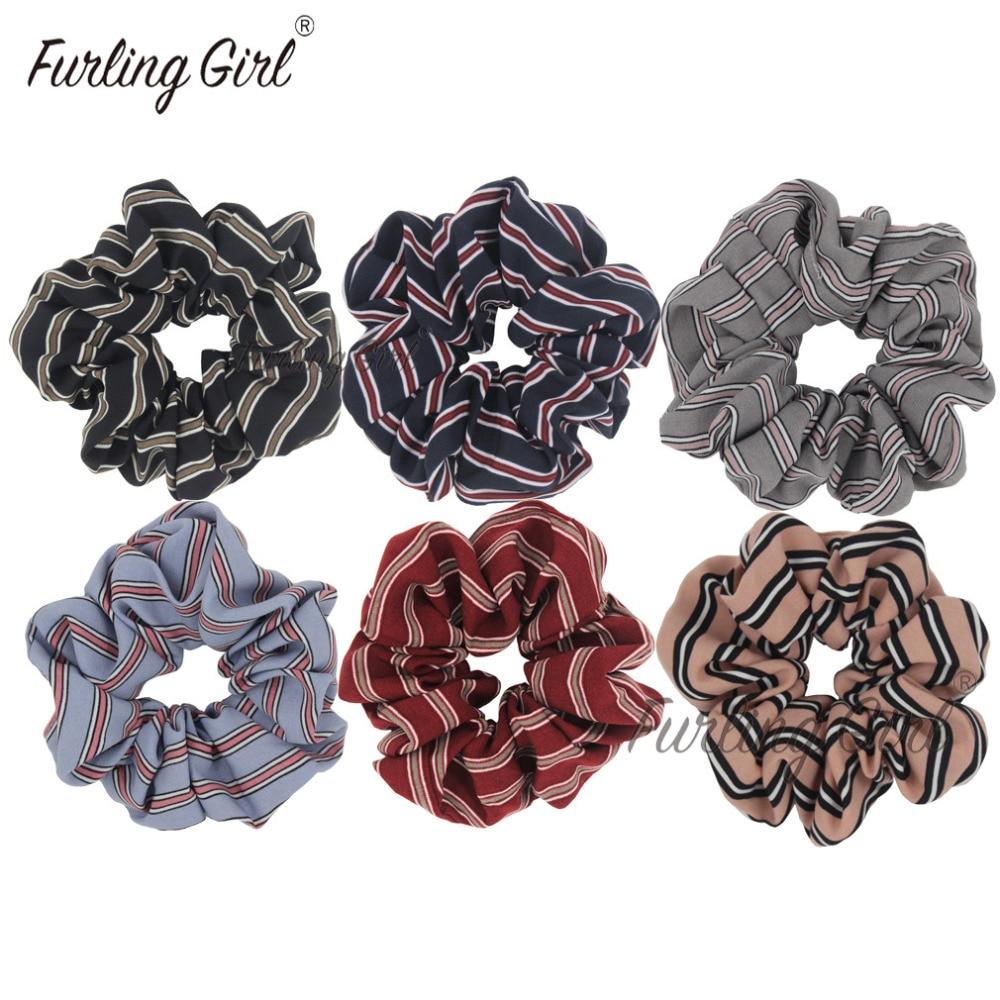 Floral satin hair scrunchie fabric bobble brown black burgundy elastic band
