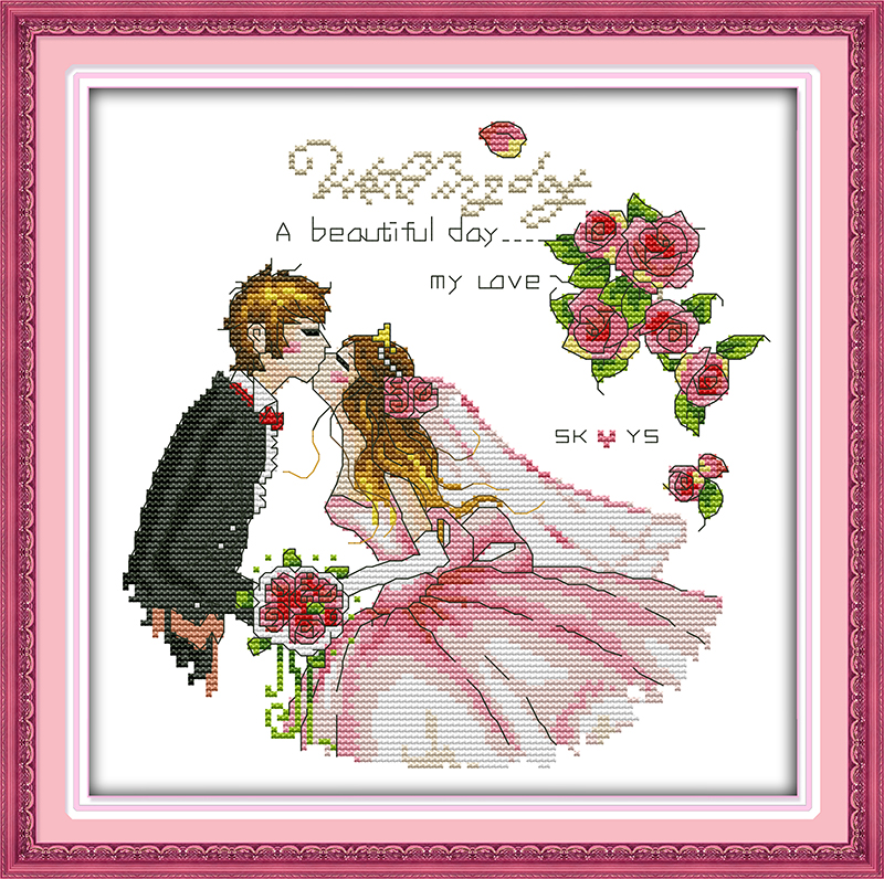 Wedding cross stitch kit people lover 18ct 14ct 11ct count pre ...