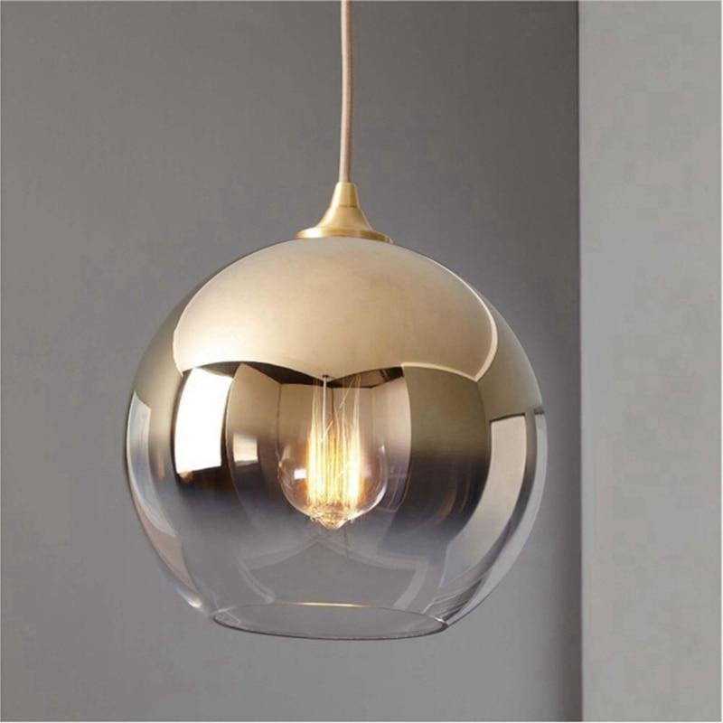 LukLoy Modern Kitchen Pendant Light Gold Glass Ball Loft Hanging Light Fixture Hanglamp Living Room Bedside Hanging Lamp