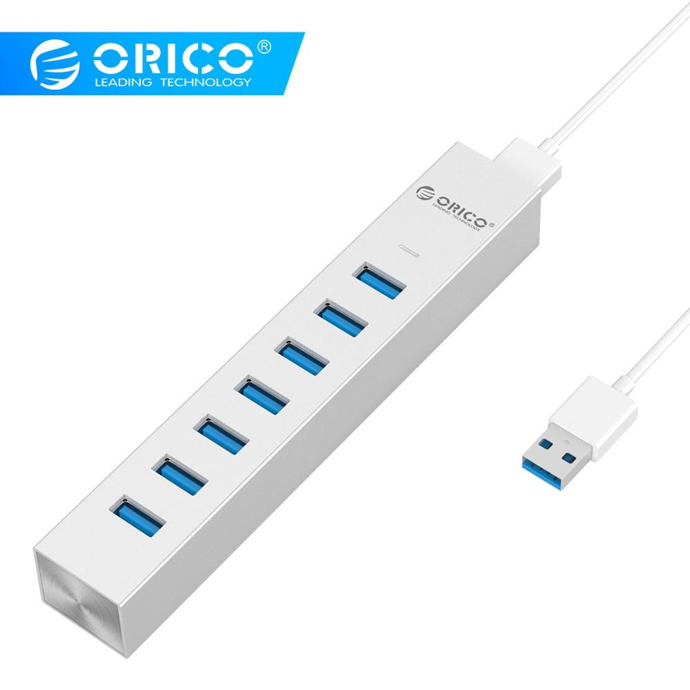 ORICO ASH7-U3-SV nouveau Type C aluminium 7 ports USB3.0 Hub pour Windows XP/Vista/7/8/10/Linux/Unix/Mac OS-argent