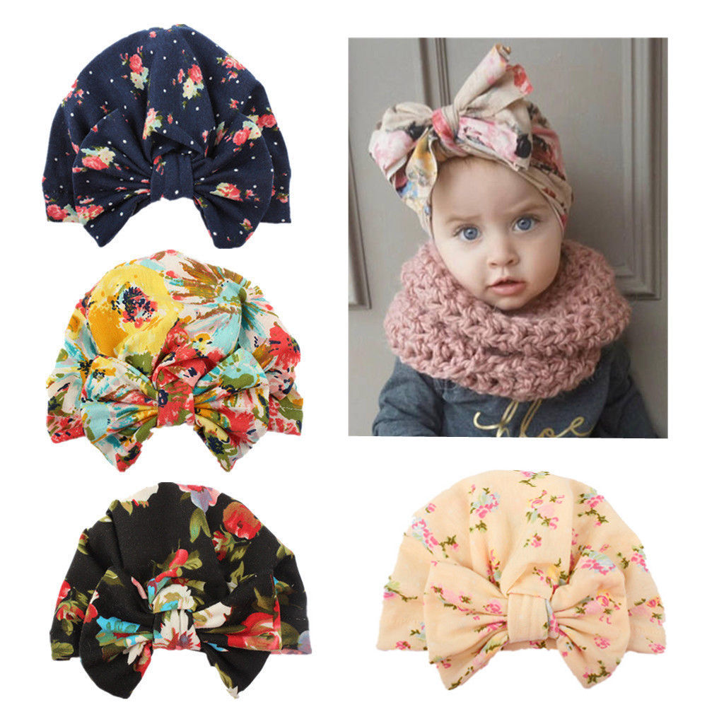 Newborn Baby Infant Girl Toddler Comfy Bowknot Hospital Cap Warm Beanie Hat(China)