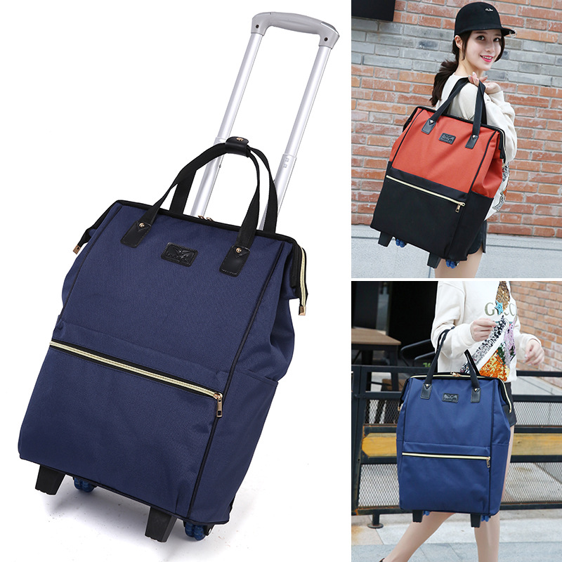 JXSLTC New Backpack Girl Rolling Bag Luggage Bag Wheel Luggage Oxford Cloth Multi function Baggage Organizer Weekend Package