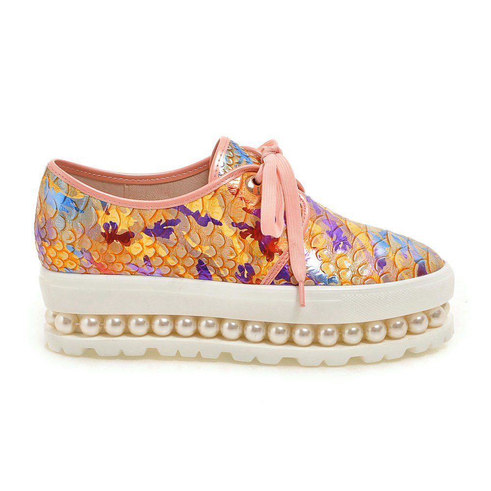 ФОТО 2017 New fashion platform waterproof round toe flowers PU leather beading loafers pearl lace up plus size superstar shoes 5-5