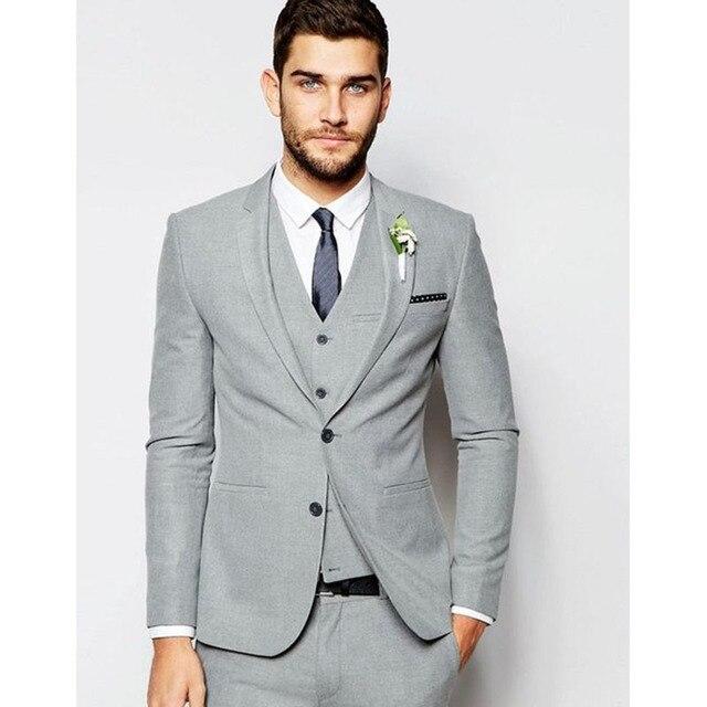 2018 Wedding Suits Terno Masculino Latest Coat Pant Designs Grey Men Suit Slim Fit 3piece Tuxedo