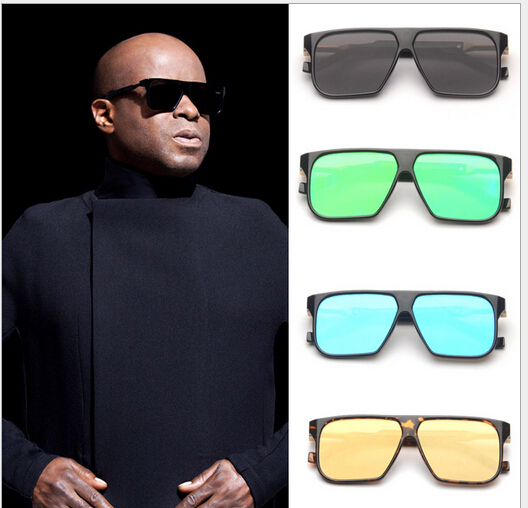 ee9ff49b7af 2015 European Trand Flat Lens Sunglasses for Men Oversized Square Sunglasses  Steampunk Style Colorful Reflective Lens JWW089