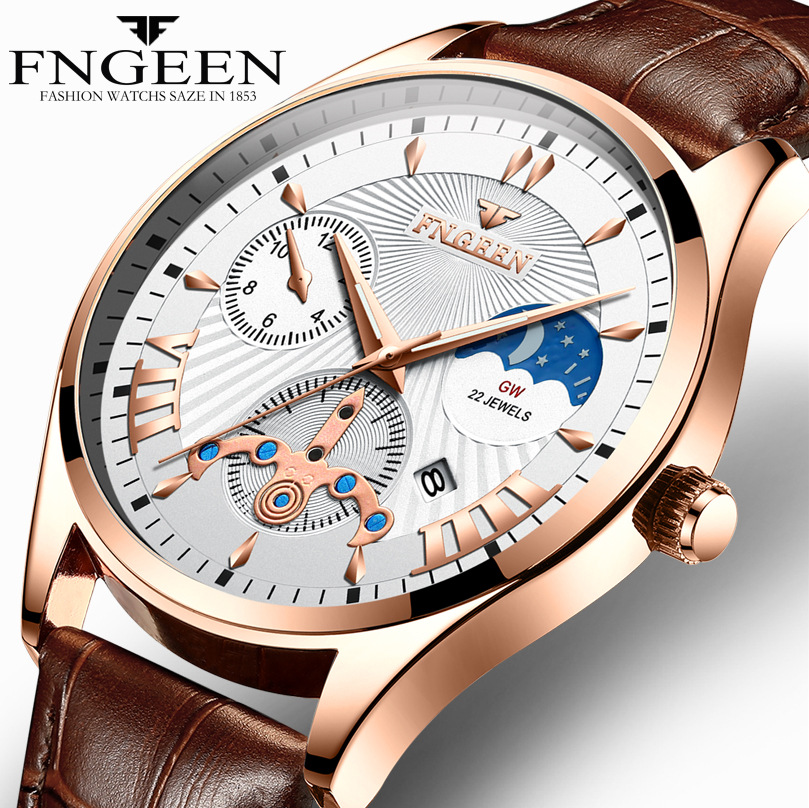 Fngeen New Quartz Watch Men Fashion Stainless Steel Mens Watches Top Brand Luxury Leather Band Clock Mens Watches Waterproof