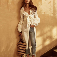 2018 New Style Sexy Women Cotton Blouse Long Pull Sleeve Deep V Neck Single Breasted Beach Lengthened Tops Bow Tie Belt Shirt