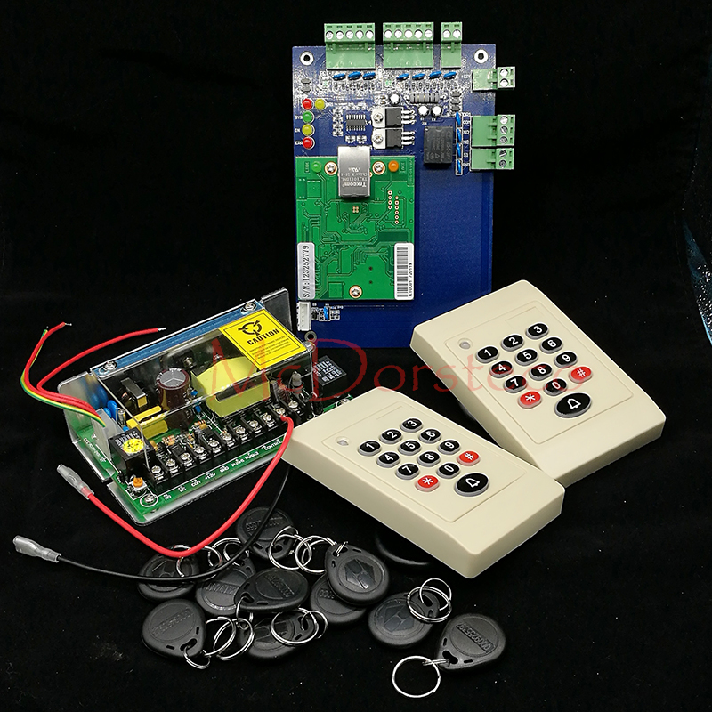 DIY TCP/IP Single Door Access Panel 125khz Rfid keypad Card Access Controller+2pcs Keypad Rfid slave Reader + 12V5A Power Unit biometric face and fingerprint access controller tcp ip zk multibio700 facial time attendance and door security control system