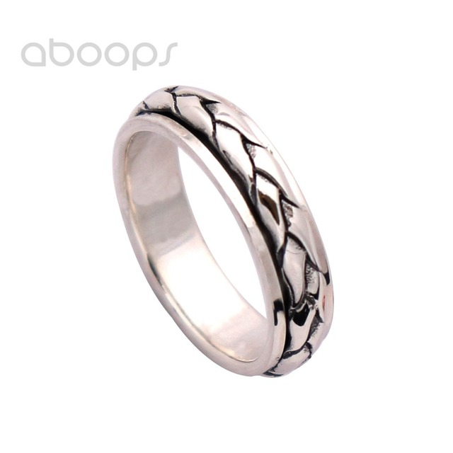 6mm Mens Womens Braided Rope Spinner Ring in 925 Sterling Silver Size 7.5 8 9 10 Free Shipping
