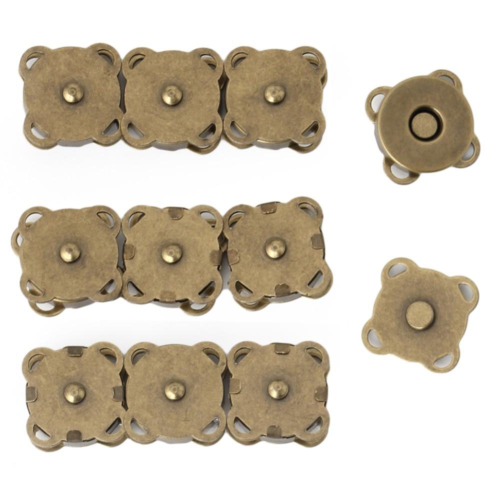 10pcs Magnetic Purse Quincunx Snaps For Clasps Closure Wallet Bags Handbag Buckle Accessories 14/18mm Silver/Bronze