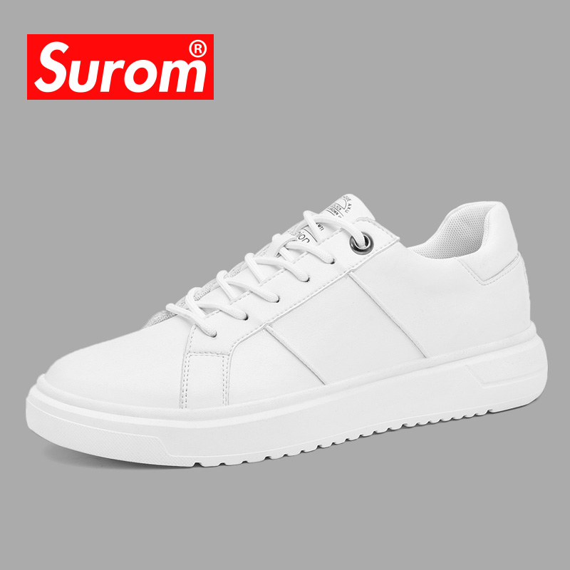 SUROM Men s White Leather Casual Shoes Sneakers Brogue Style Fashion Flats Brand Spring Autumn Male