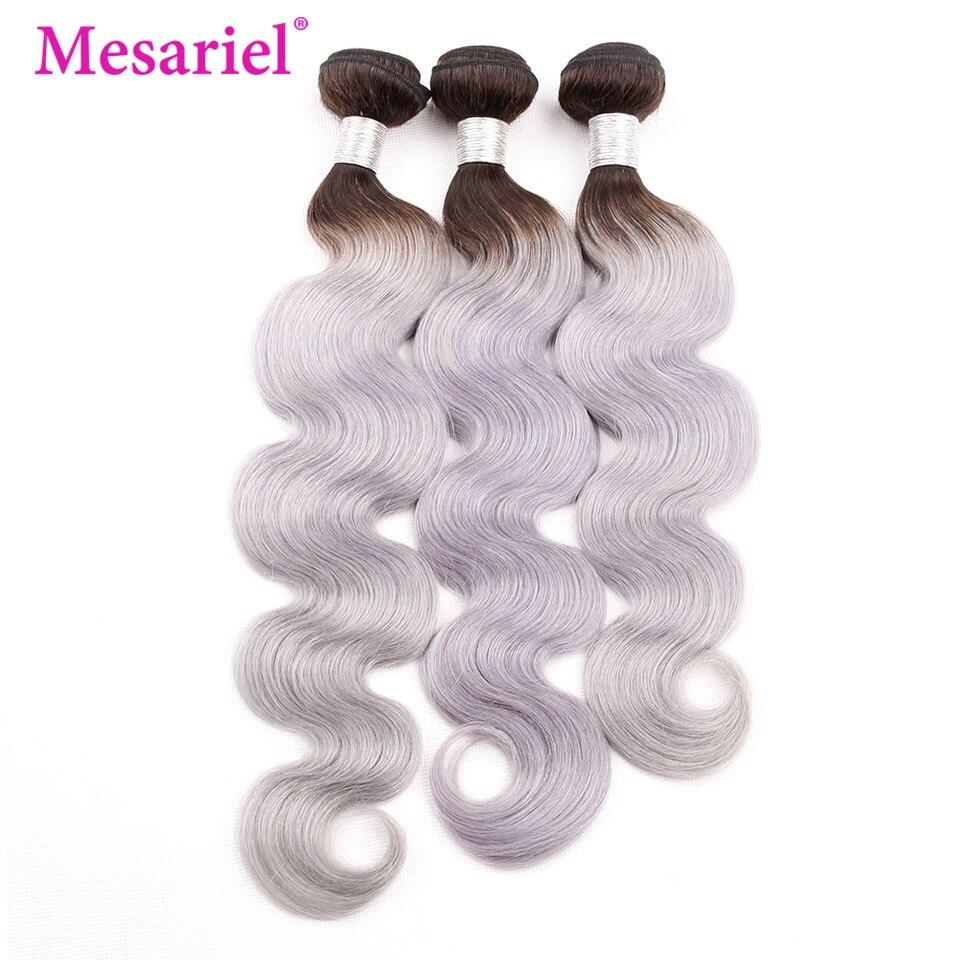Mesariel cheveux brésiliens vague de corps 1/3/4 paquets racines noires 1B gris Ombre Remy cheveux armure Extensions de cheveux humains 12-24 pouces
