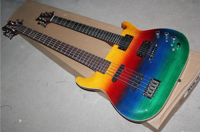 FDDH-005 multi color solid body chrome hardware 4 String Bass and 6 String double neck electric guitar