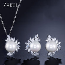 ZAKOL Hot Sale 3 Color Simulated Pearl Wedding Jewelry Set for Women Fashion Flower Cubic Zircon Earrings/Pendant Sets FSSP325(China)