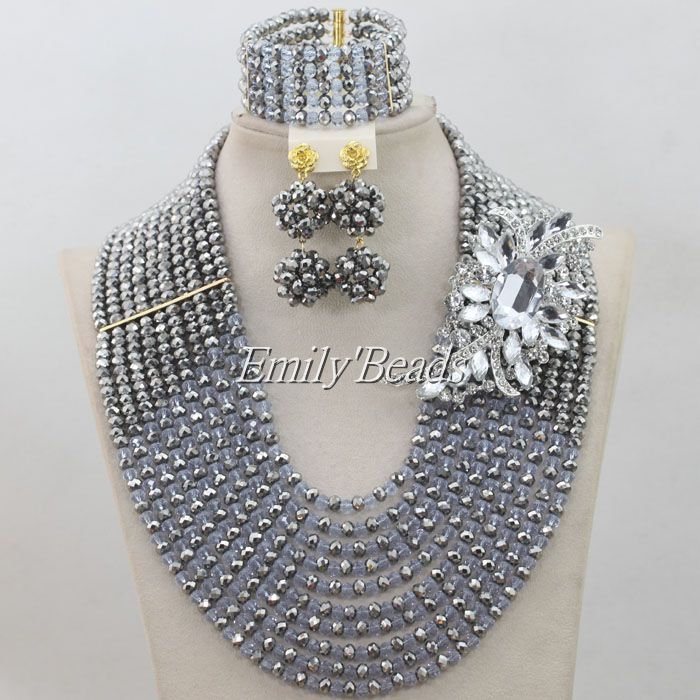 2016 Women Gray Color African Jewelry Sets Nigerian Wedding Indian Bridal Necklace Jewellry Set Wholesale Free Shipping AIJ2412016 Women Gray Color African Jewelry Sets Nigerian Wedding Indian Bridal Necklace Jewellry Set Wholesale Free Shipping AIJ241