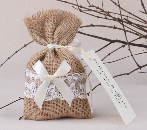 Free Shipping 30pcs Lot Rustic Favor Bags Burlap Lace Bag For
