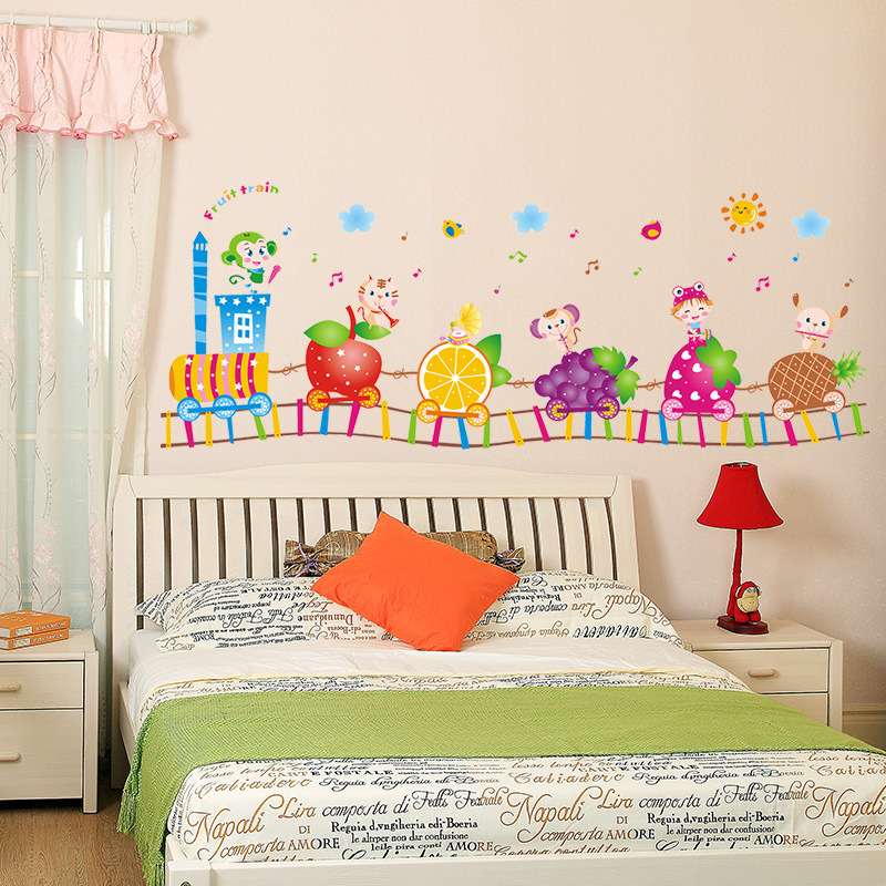 Kindergarten children 39 s room cartoon wall stickers creative fruit train cute animals color sticker baby bedroom decoration decal in Wall Stickers from Home amp Garden