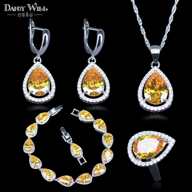Bridal Jewelry Water Drop Yellow Crystal 925 Mark Silver Color For Women Costume Sets Pendants