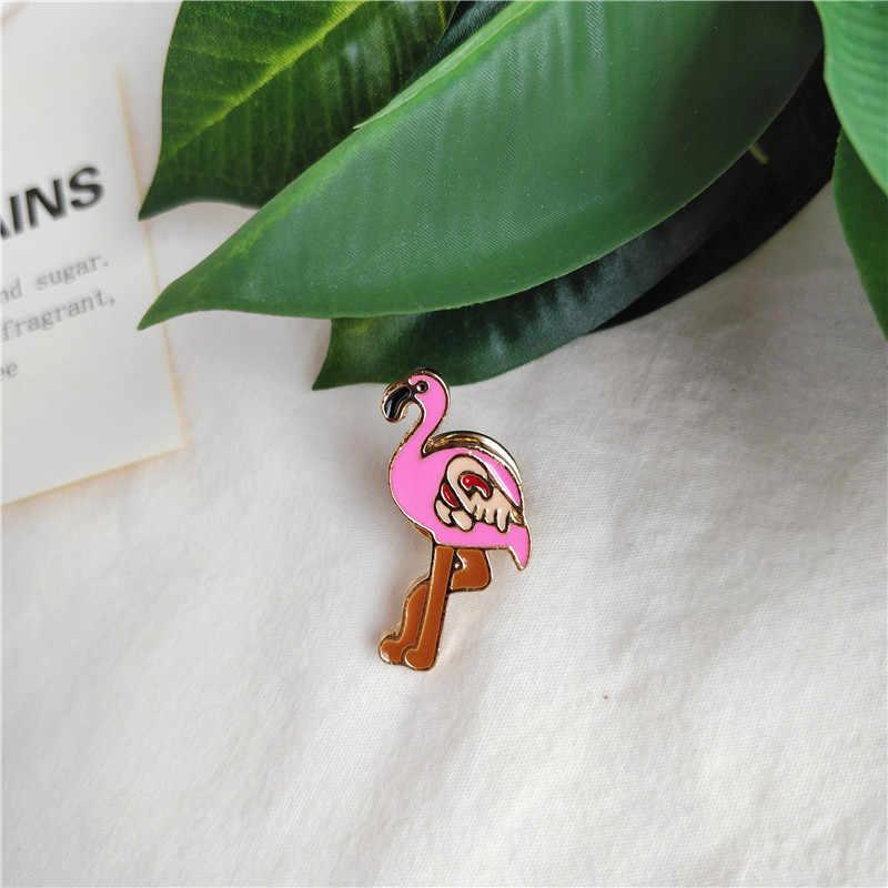 ファッションピンクフラミンゴアイスクリームグリーンココナッツツリーハートサングラスエナメルブローチコーヒーカップシャツ襟ピンバッジギフト