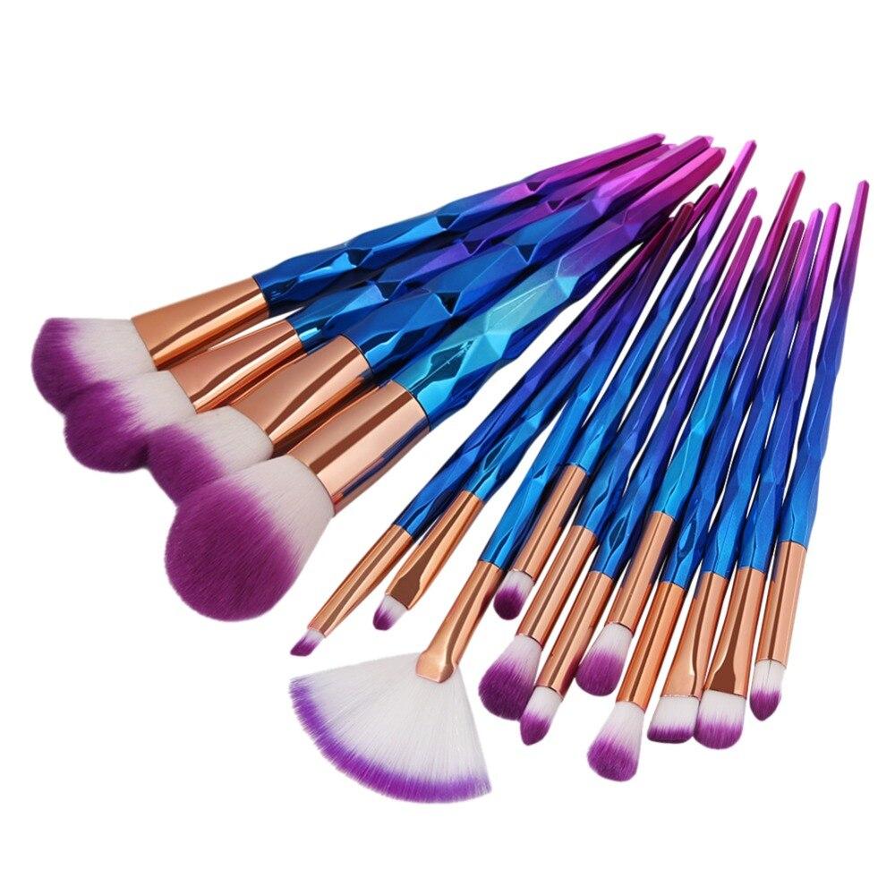 15PCS Berus Mekap Set RoseGold Yayasan Profesional Serbuk Serbuk Berus Alat Rata Eyeliner Eyebrow Makeup Brush Kit