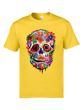 Personalized Print Skull T Shirts Day of the Dead Flower Crewneck 100% Cotton Fabric T-shirts Mens Novelty Male