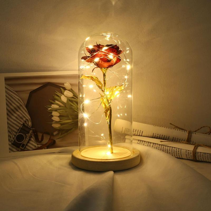 Wooden Base Copper Wire Lamp Glass Dome 20LED Rose Night Light Room Decor Craft