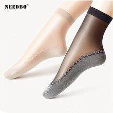 NEEDBO Socks Women Skarpetki Damskie Velvet Silk Quality Soft Cotton Bottom Wicking Non-slip women socks sexy 10 pairs