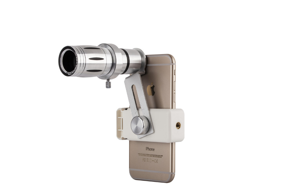 Universal 12X Zoom Mobile Phone Telescope Lens 4in1 lens Telephoto External Smartphone Camera Lens for iPhone Sumsung HTC Huawei 12