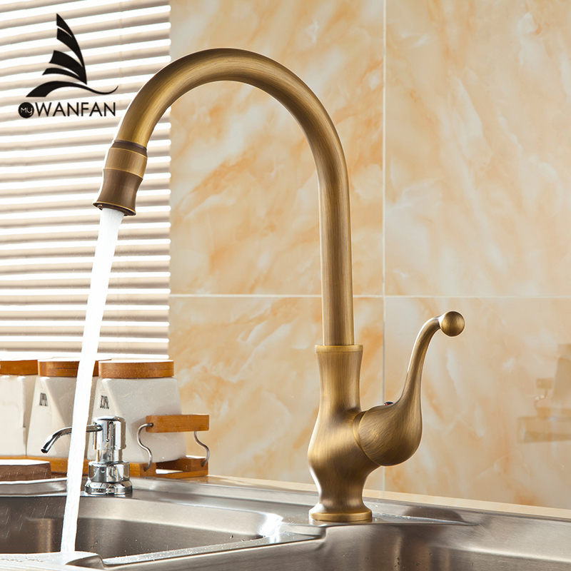 Kitchen Faucet Antique Bronze Brass Kitchen Sink Faucets Single Hand High Arch Swivel Spout Hot And