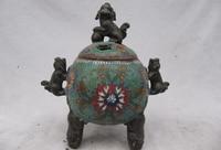 Elegant old S1352 Fane Pure Bronze cloisonne Three Fu Foo Dog Lion Buddhism Censer incense burner statue