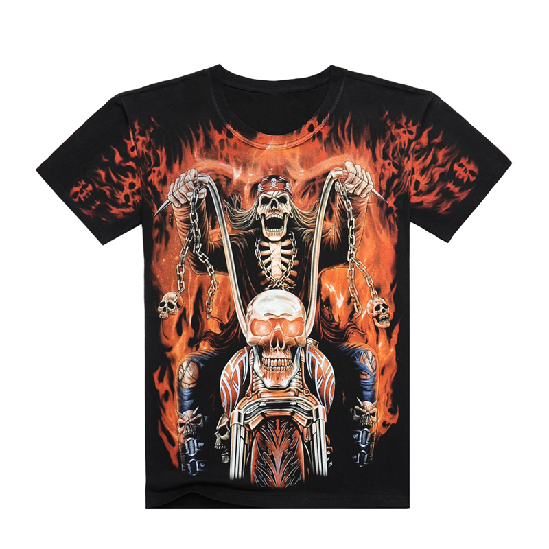 <font><b>2017</b></font> New fashion <font><b>High</b></font> <font><b>quality</b></font> Men Women 3d cool shirt Print flame Skull <font><b>Motorcycle</b></font> Short Sleeve Summer <font><b>Tops</b></font> Tees <font><b>Hot</b></font> style cloth