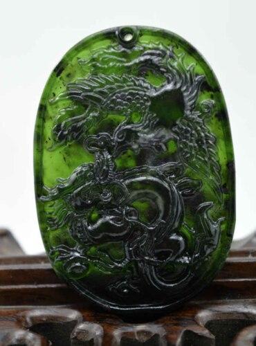 Fine China/'s natural jade nephrite carving black jade pendant Dragon