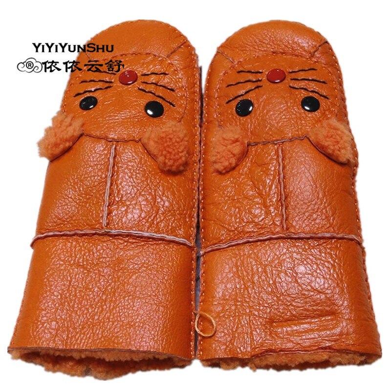YIYIYUNSHU Sheepskin Gloves Mittens Children Genuine-Leather Cute Fur for Simple Natural
