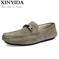 New Fashion Men Loafers 100 Handmade Pig Suede Casual Boat Shoes Slip On Moccasin Driving Shoes