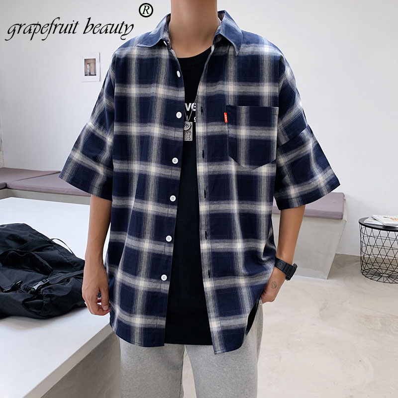 New Summer Fashion Brand Men Clothes Loose Shirt Younger Long Sleeve Blouse Plaid Cotton Casual Gentlemans Shirt Social M-5xl