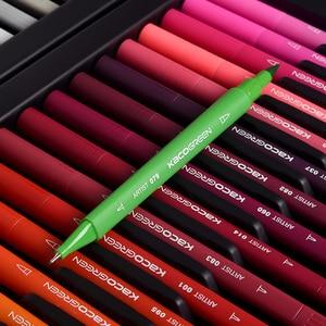 Image 2 - KACO أقلام ألوان مائية مزدوجة الأطراف فرشاة غير سامة وقلم سكريبتلاينر للرسم طقم هدايا 100 لون مع حقيبة يد