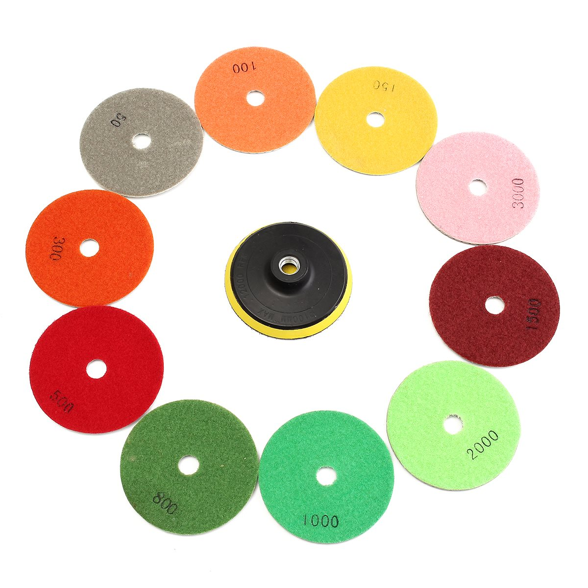 High Quality 11pcs/set 4 Diamond Polishing Pads Grinding Disc For Granite Marble Concrete Stone Tiles Tool Best Price wood working tool kit 12mm shaft diamond grinding head for marble granite stone and tiles glass at good price export quality