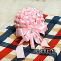 2017 Bridal Bridesmaid Wedding Bouquet Cheap New Arrival Pink Satin Handmade Artificial Rose Wedding Flowers Bridal Bouquets