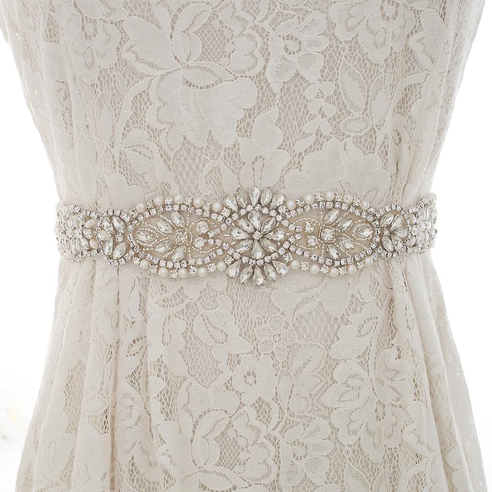 Pearls Flower Wedding Belt Silver Rhinestones Bridal Belt Crystal Ribbon Wedding Sash  For Wedding Dresses S184S